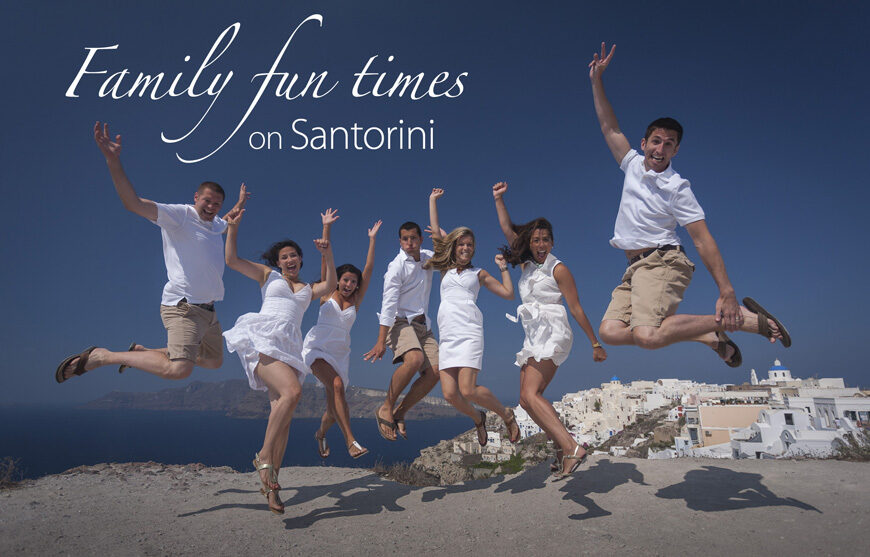 Family fun times on Santorini photo shoot