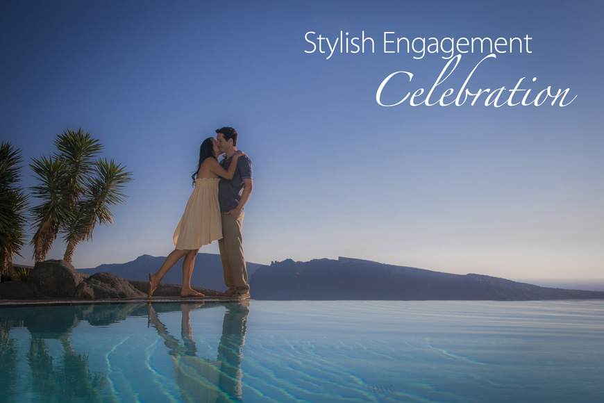 Stylish Engagement Celebration Photoshoot on Santorini