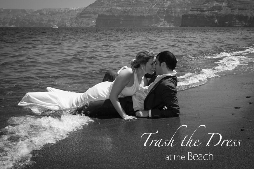Trash the Dress at the beach on Santorini